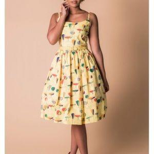 Tatyana yellow Circles dress  size L Brand New